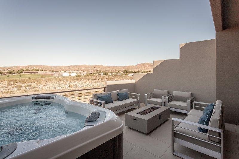 Private Hot Tub and custom fire pit