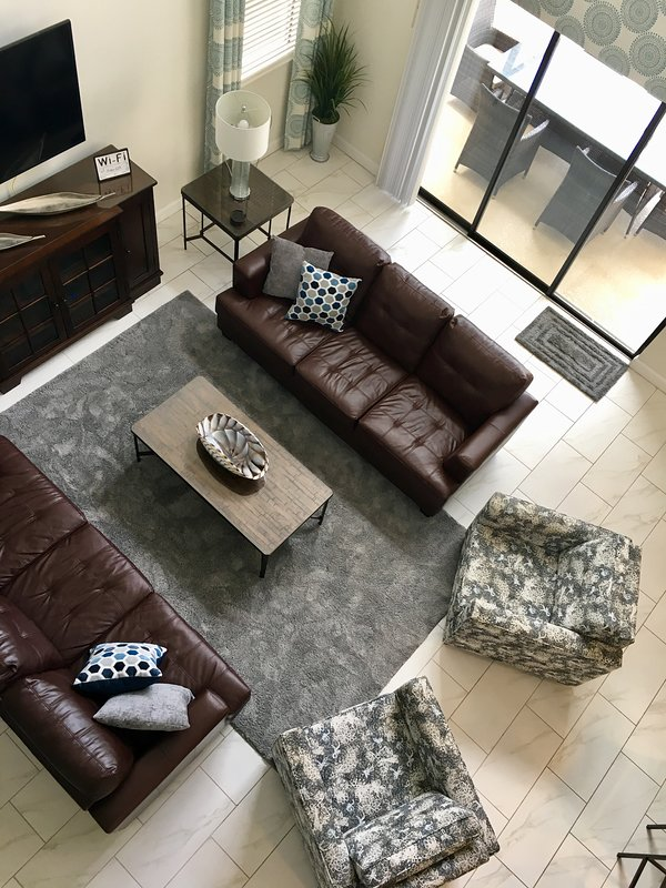 Living room with comfortable seating for 8.