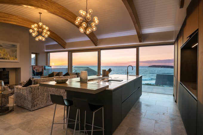 Kitchen/Livin Area overlooking the West Strand Beach, Portrush
