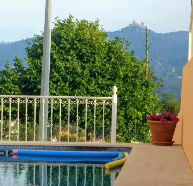 Zwembad met uitzicht op het nationale paleis van Pena op de achtergrond