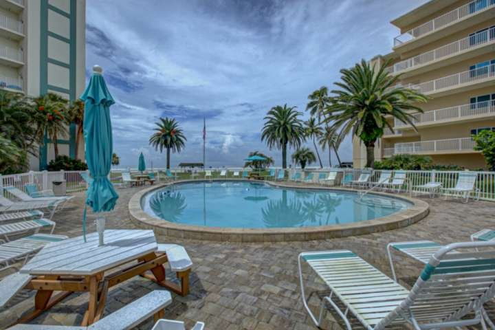 Large community heated pool overlooking Siesta Key Beach.  Lounge by the pool or play in the sand...what to do, what to do?!