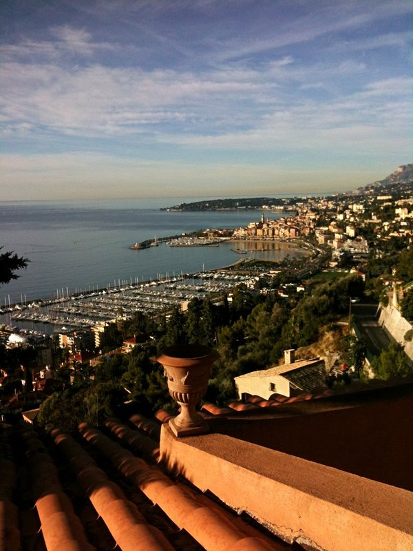 Daytime view. On a clear day you can see all the way to Cap d'Antibes with its lighthouse at night