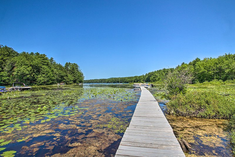 Walk along the dock and find a place to throw a line in Panther Pond!