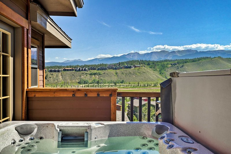 Go for a soak while looking at the mountains!