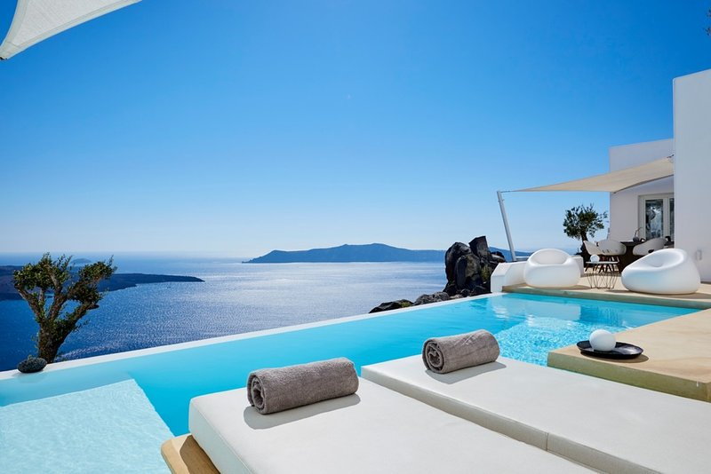 Stunning views from the terrace at Apollo, Santorini