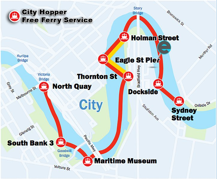 The CIty Hopper free ferry stops 400m from the apartment, making it simple and affordable to access many points of Brisbane