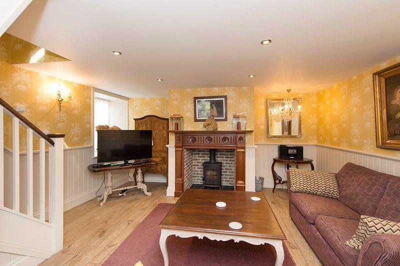 Salon confortable avec cheminée antique