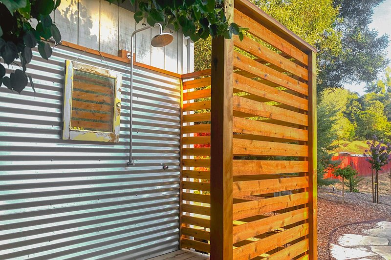Rinse off in this cool outdoor shower!