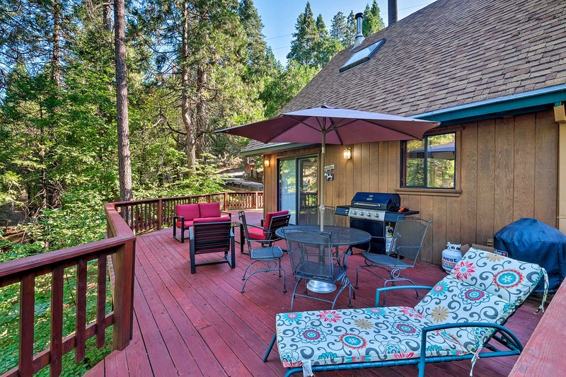 Enjoy stunning forest views from the expansive deck.