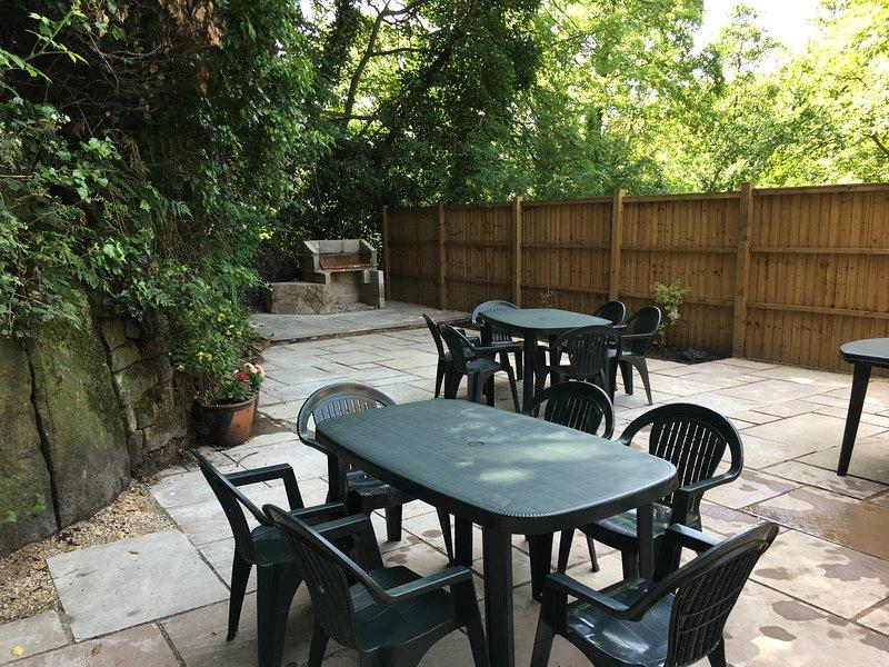 Patio with garden furniture/ bar be que