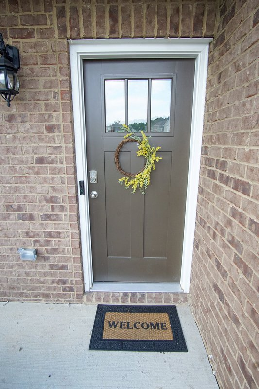 Front door with keycode keypad entry.