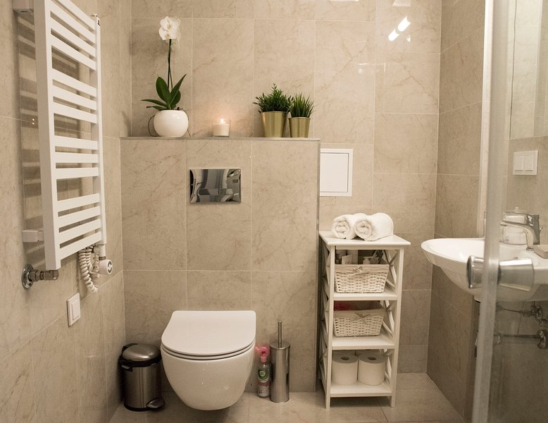 Elegante bagno con un grande specchio a parete, doccia, WC, lavandino, radiatore scaldasalviette e tutto l'essenziale