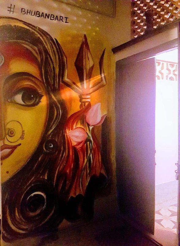 Durga mural at the entrance