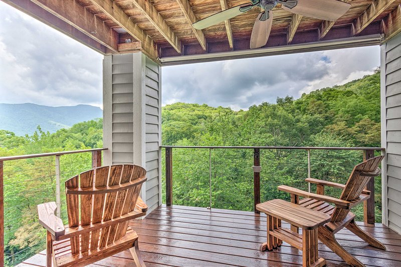 Breathe in the mountain air from the private deck.