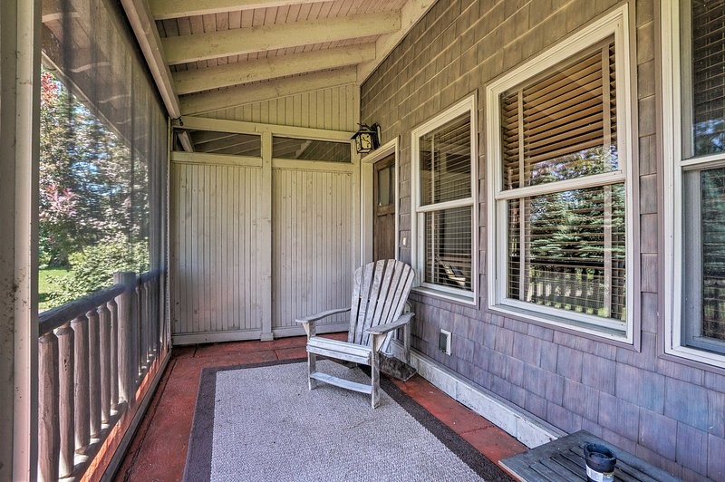 Sip your morning coffee on the screened-in porch each day.