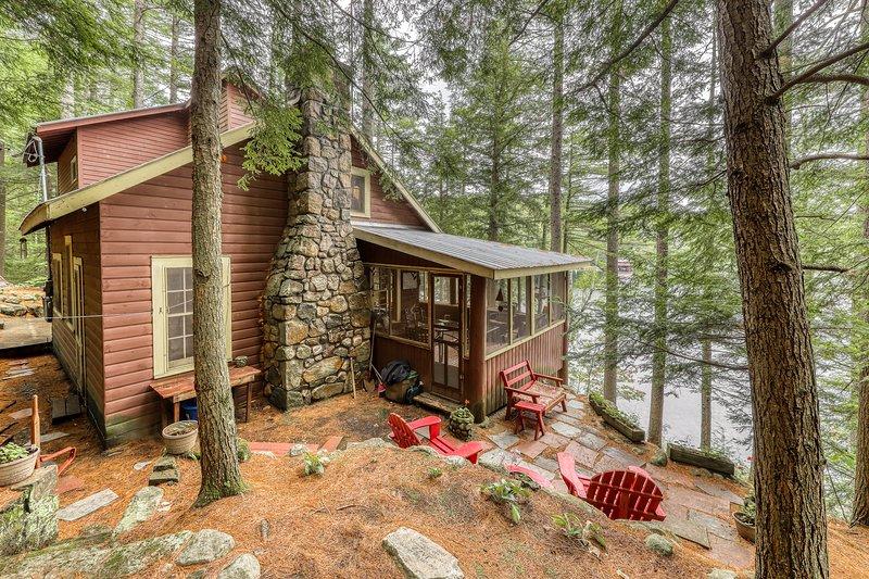 Dog-friendly, lakefront camp cabin w/ a dock & multiple decks, holiday rental in Pottersville