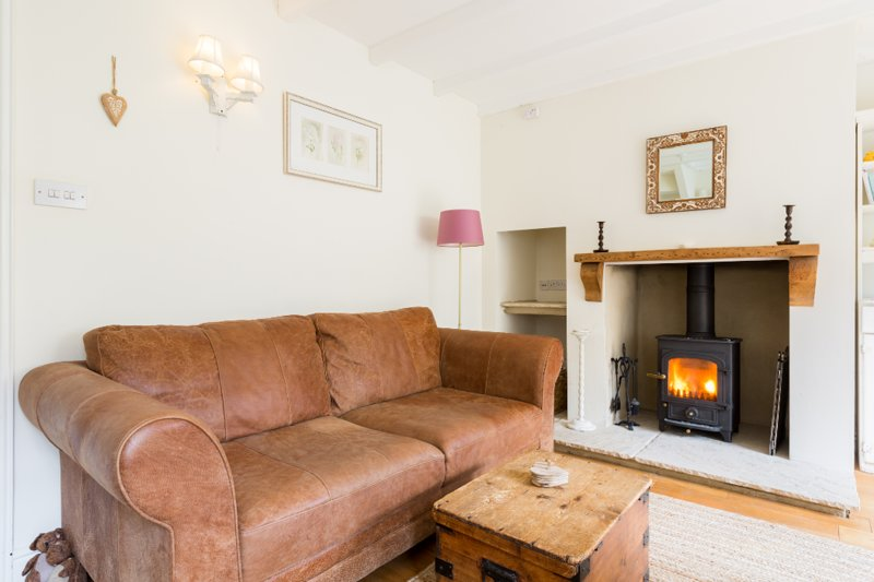 Cosy lounge with log burning stove