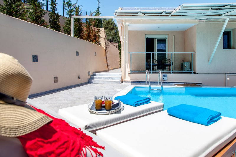 Luxury Villa With Private Infinity Pool & Views, holiday rental in Kalligoni