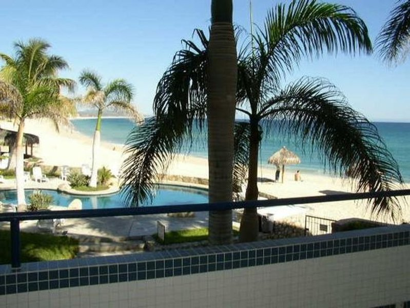 The pool & beach as viewed from the balcony