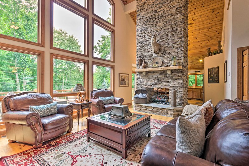 Warm up next to the gas-powered fireplace in the living room.