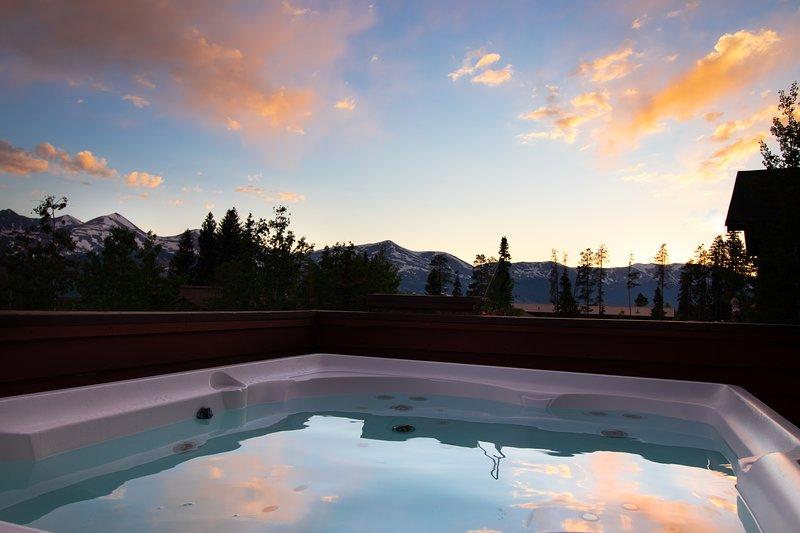 Zonsondergang vanaf het bubbelbad.