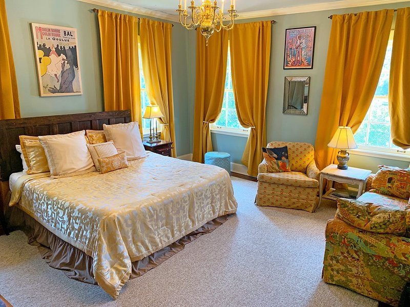 King-size bed. Premium sheets/pillows. Room darkening curtains. Seating area. Private bathroom.