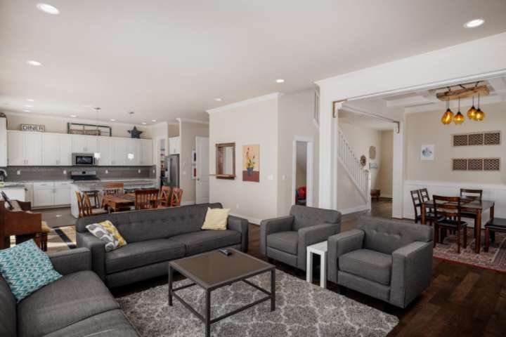 Huge open floor plan with kitchen, dining, and living area for all to enjoy.