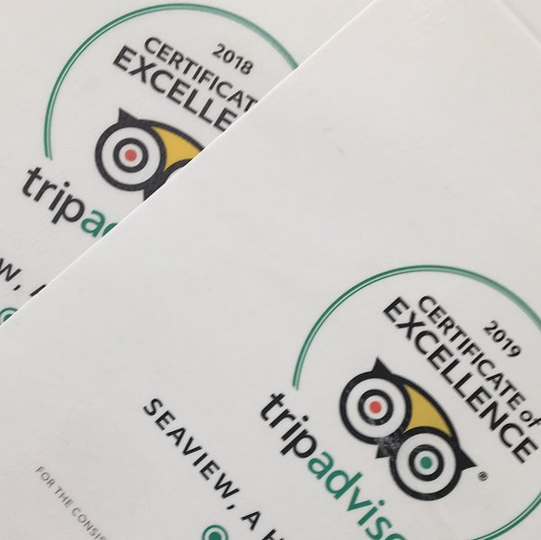 Certificate of excellence 2 years in a row.  Guaranteeing you a wonderful stay.