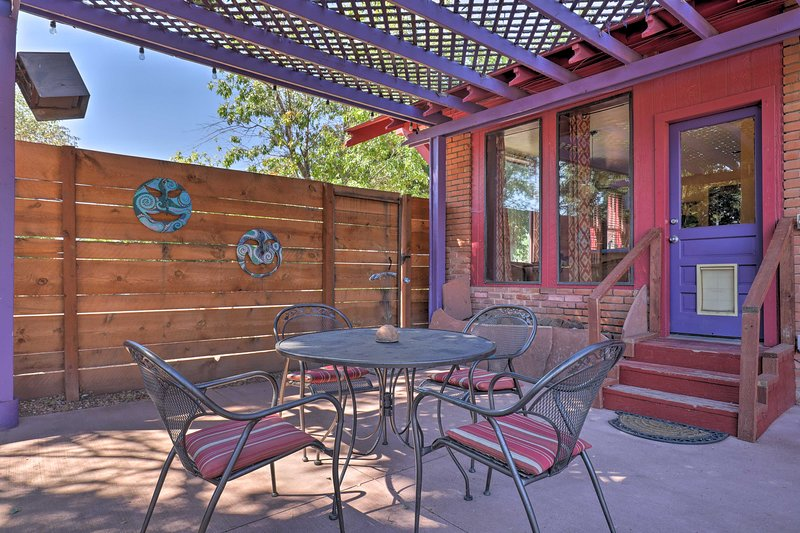 Relax on the private, fenced-in patio - perfect for playing with pets & kids!