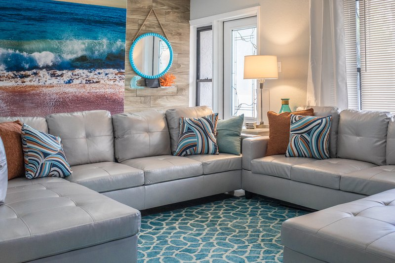 Relax on the double sectional sofas and catch up on the latest TV shows, news, music, and movies.