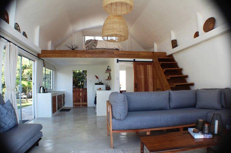Bright, open-plan modern farmhouse cottage