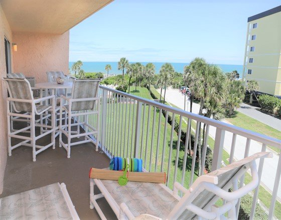 Huge balcony off of the living room and master bedroom with views of the ocean