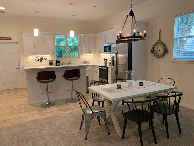 Kitchen island and dining area