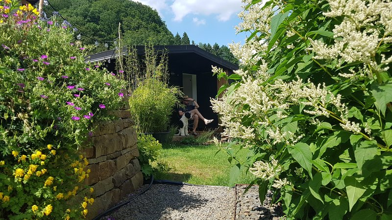 Tiny house in beautiful garden with swimming pond, 20 min. to Cologne, vacation rental in Hennef