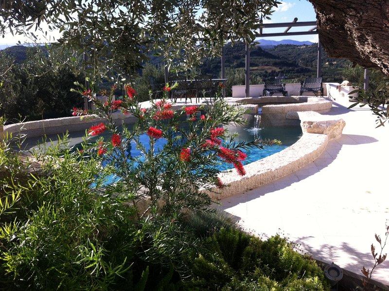 Uitzicht op het zwembad en het eetgedeelte buiten