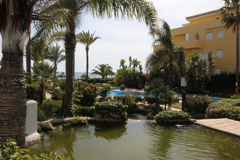 Jardins e área da piscina.