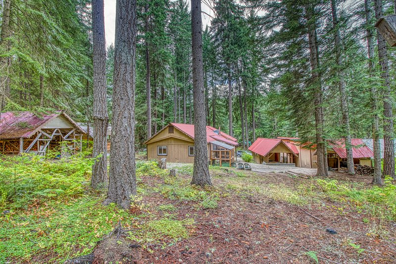Two rustic cabins w/ private hot tub - dogs welcome, near Lake Wenatchee!, aluguéis de temporada em Coles Corner