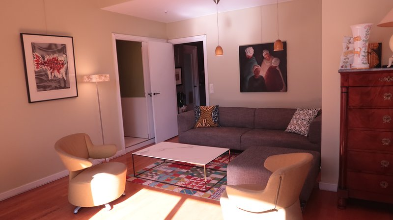 Near Eiffel tower, Modern1bedroom apt with king size bed, a/c,terrrace, holiday rental in Saint-Denis