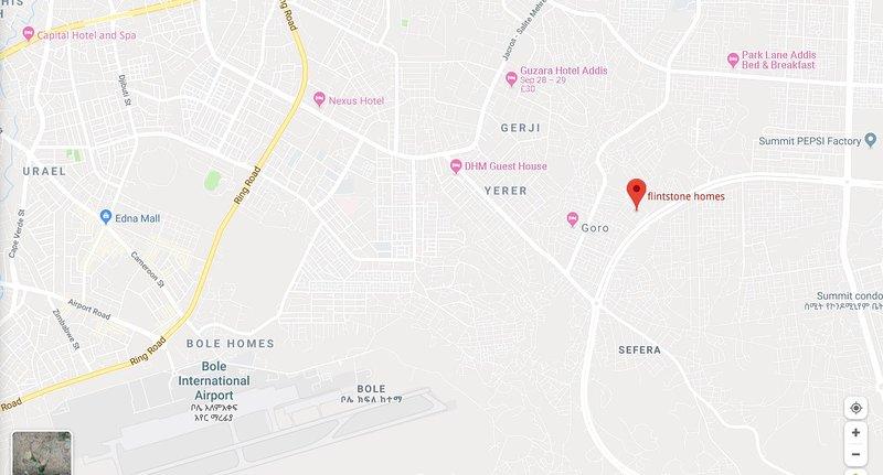 La ubicación del apartamento está en la parte este de Addis Abeba, cerca del aeropuerto internacional de Bole.