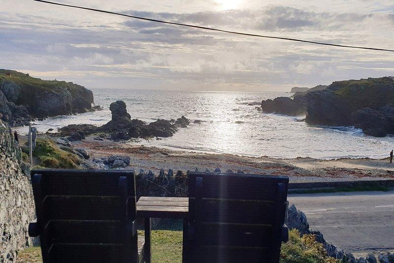 Vista desde el asiento en el jardín de Gwynfa