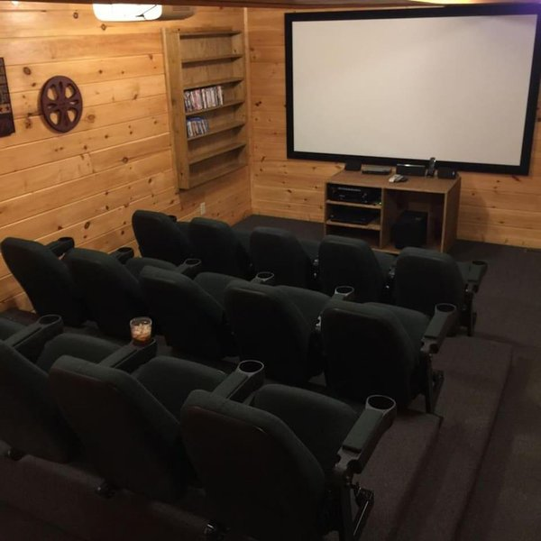Theater Room with 110 inch projector screen