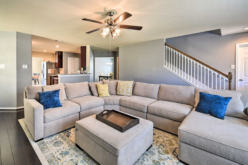 This home offers plenty of comfortable seating, perfect for small gatherings.