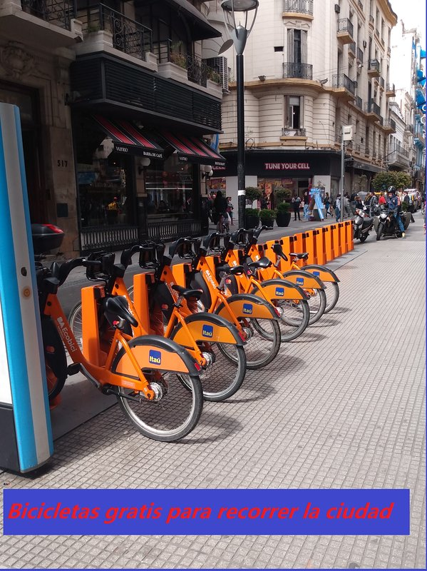 Free bicycles to tour the city at 100 meters