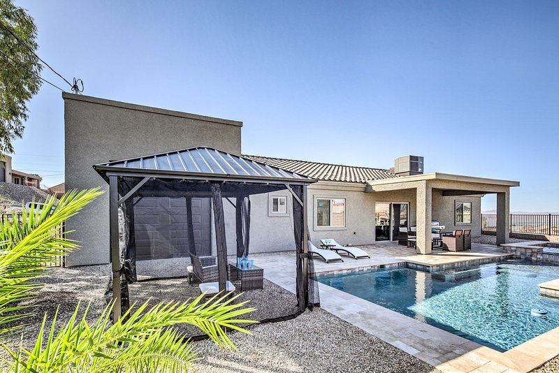 Enjoy a private outdoor oasis in the fully fenced backyard.