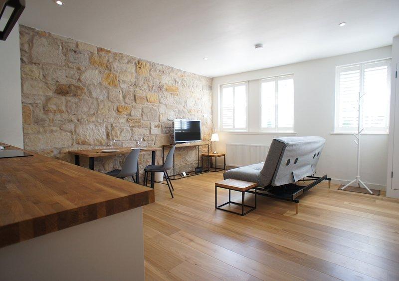 Spazio abitativo open space meravigliosamente leggero e arioso, con WI-FI illimitato gratuito e televisione intelligente