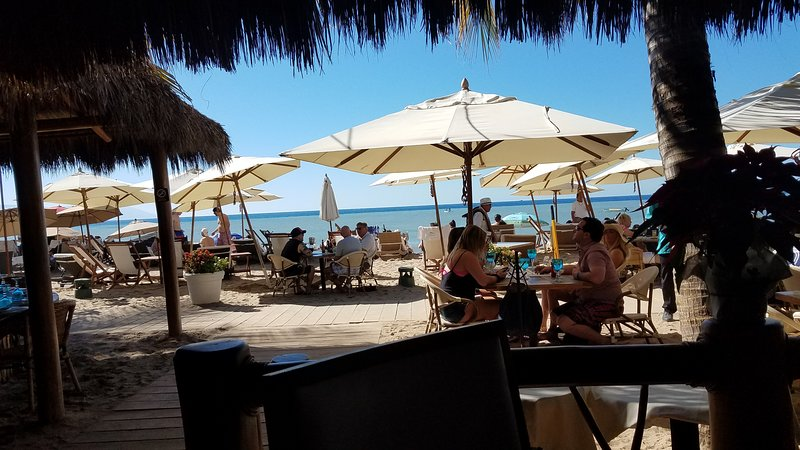 Eating right on the beach, lunch or dinner