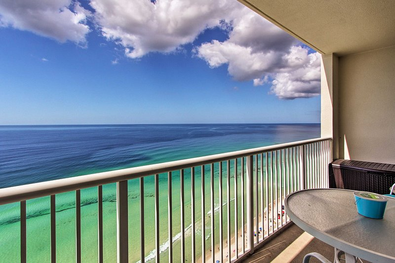 The beach getaway you've been looking for awaits at this PCB beachfront unit!