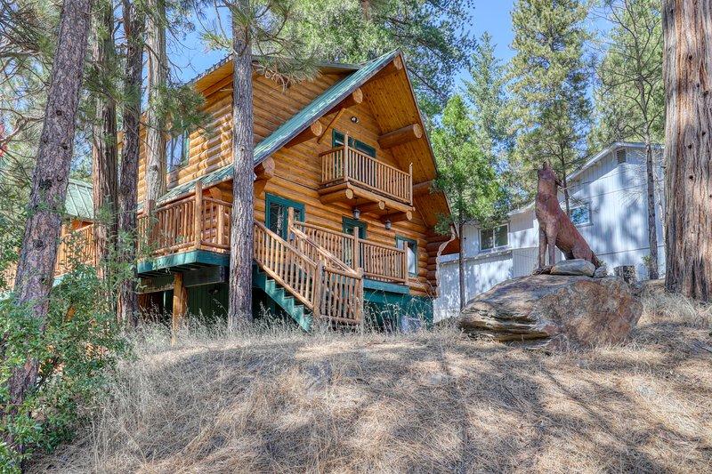 Charming log cabin w/ resort amenities, steam shower, & multiple decks - dogs OK, vacation rental in Groveland