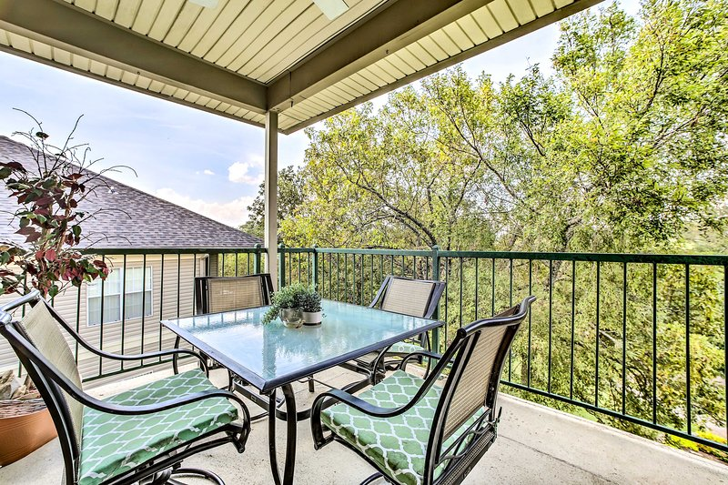 This 3-bed, 3-bath vacation rental condo is located in the Holiday Hills area.