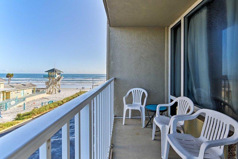 Look forward to lazy beach days at this Daytona Beach vacation rental studio!